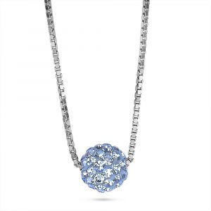 TAN zilveren ketting bol kristallen lichtblauw 10happy