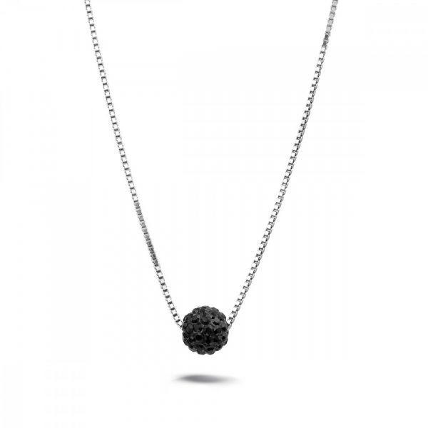 TAN halsketting in zilver met hanger bol zwarte kristallen 10Happy
