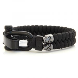 STEEL & CORD | BLACK SKULLS heren armband 10Happy