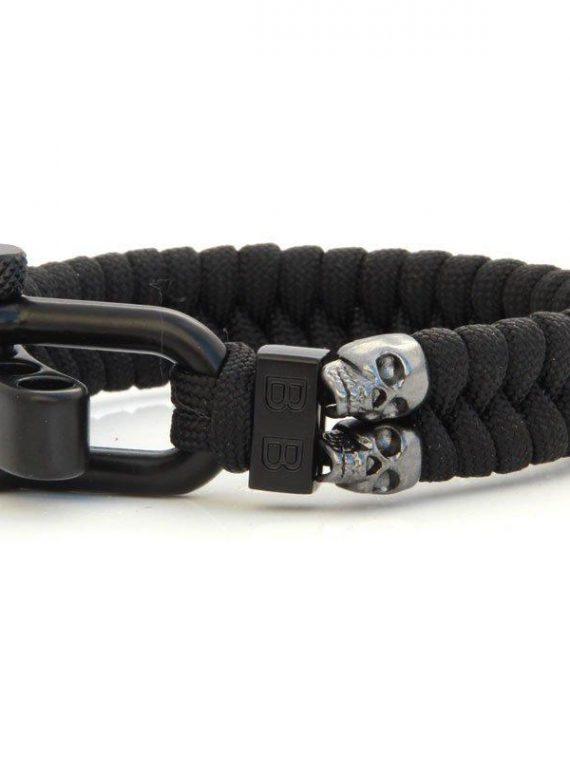 STEEL & CORD | BLACK SKULLS heren armband 10Happy