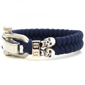 BADASS | STEEL & CORD | BLUE SKULLS heren armband 10Happy