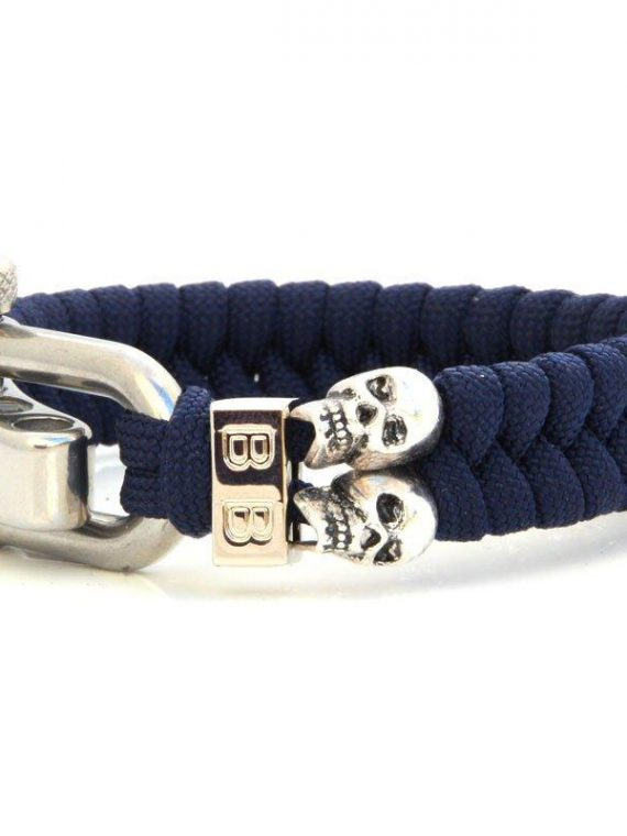 BADASS | STEEL & CORD | BLUE SKULLS heren armband 10Happy