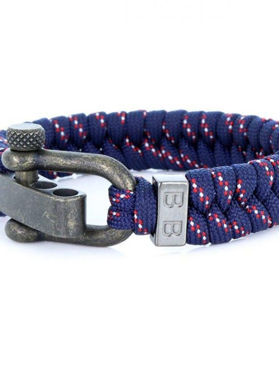 STEEL & CORD | ESSENTIAL BLUE & RED heren armband 10Happy
