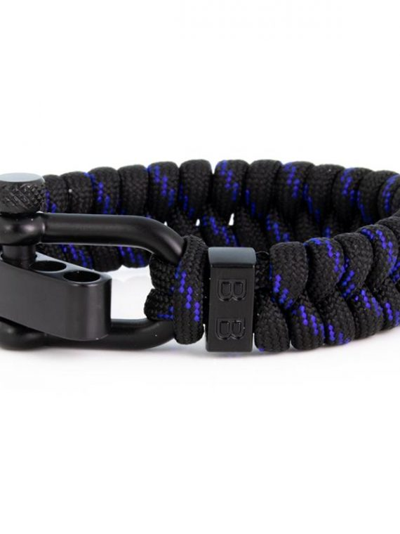 STEEL & CORD | ESSENTIAL THIN BLUE LINE heren armband 10Happy