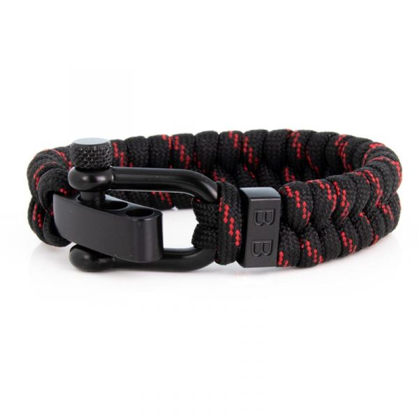 STEEL & CORD   ESSENTIAL THIN RED LINE heren armband 10Happy