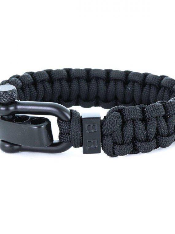 STEEL & CORD | TRADITIONAL BLACK heren armband 10Happy