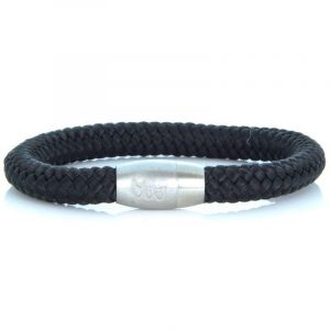 STEEL & ROPE | FISHERMAN BLACK & SILVER heren armband 10Happy