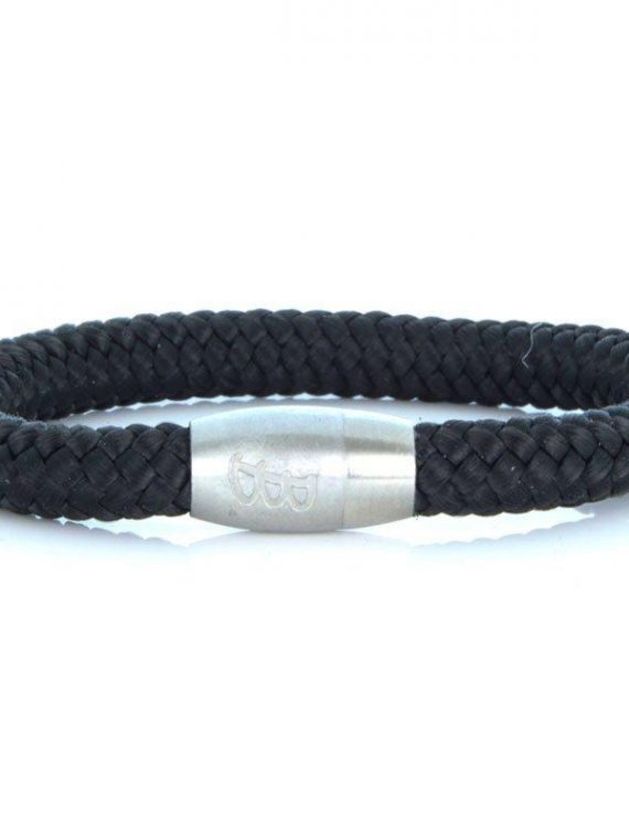 STEEL & ROPE | FISHERMAN BLACK & SILVERCOLOURED heren armband 10Happy